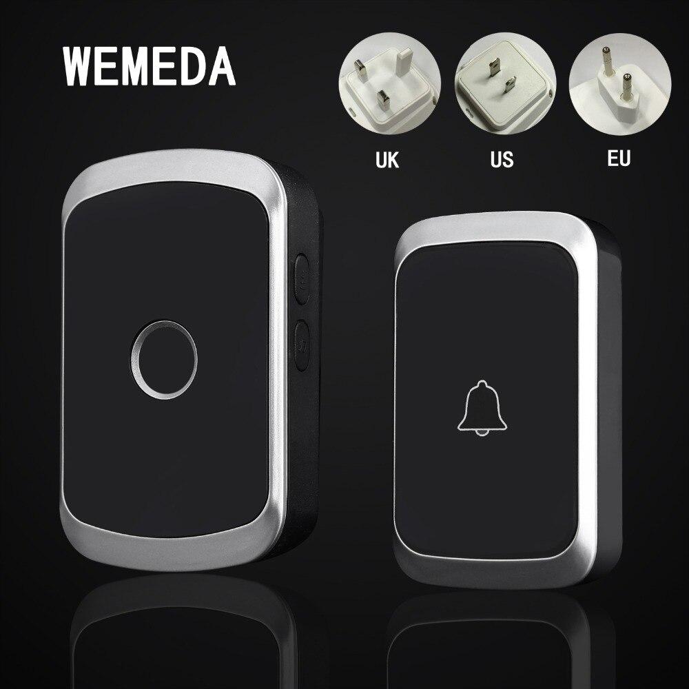 WEMEDA más nuevo timbre inalámbrico AC 110-220 V digital inteligente impermeable botón de timbre 36 melodía 4 volumen inalámbrico anillo de puerta