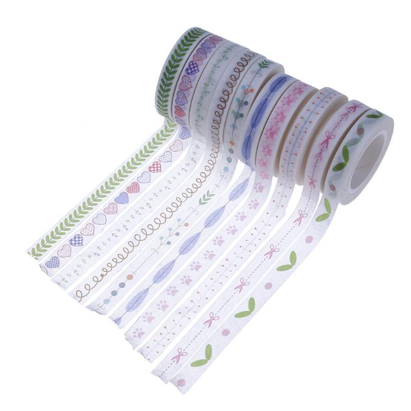 10pcs Adhesive Cutting Line Fresh Decorative Washi Tape DIY Scrapbooking Masking Tape School Office Supply