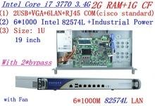 industrial 1U firewall server router 2G RAM 1G CF 2*bypass with 6*1000M INTEL 82574L Gigabit I7 3770 3.4Ghz Mikrotik PFSense ROS
