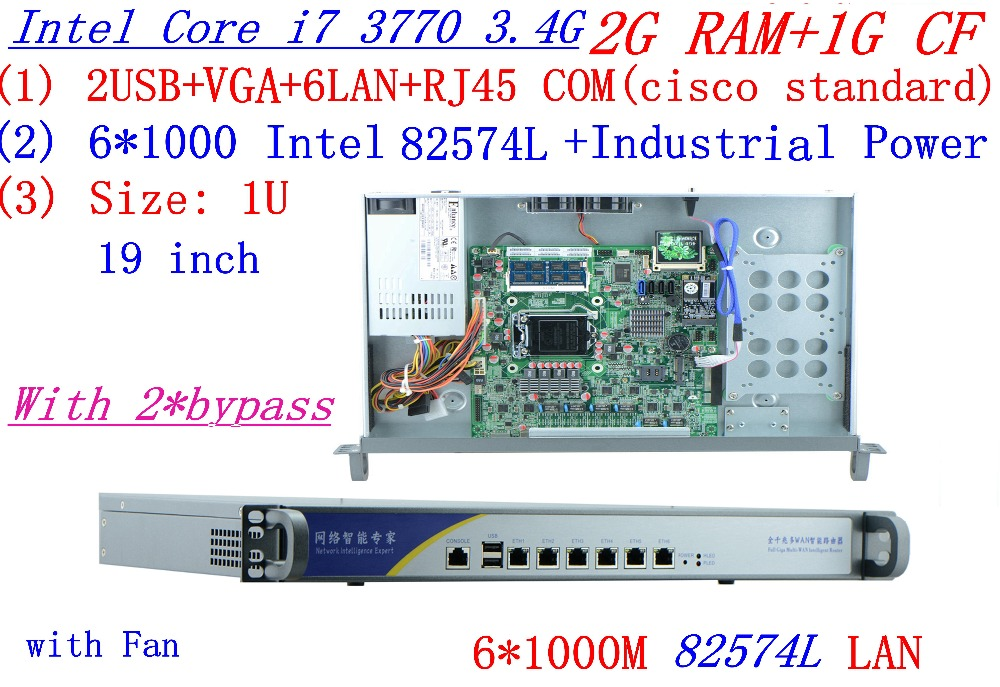 Industrial 1U Firewall Server Router 2G RAM 1G CF 2*bypass With 6*1000M INTEL 82574L Gigabit I7 3770 3.4Ghz Mikrotik PFSense ROS