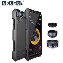 Gourde 3 in 1 fish eye Lenses case for iphone X 6S 7 5 6 7 8 X Plus mobile phone lenses case camera lens 15X wide angle macro(China)