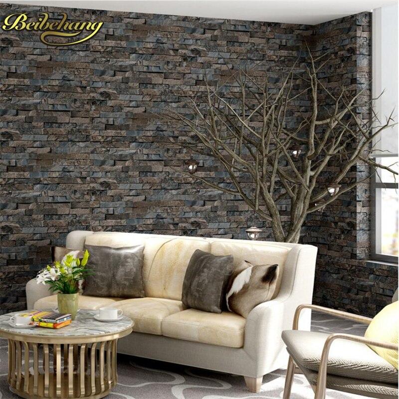 US $29.99 40% di SCONTO|Beibehang Mattoni di pietra carta da parati 3D PVC  per Soggiorno camera Da Letto Complementi Arredo Casa Grigio Del Vinile ...