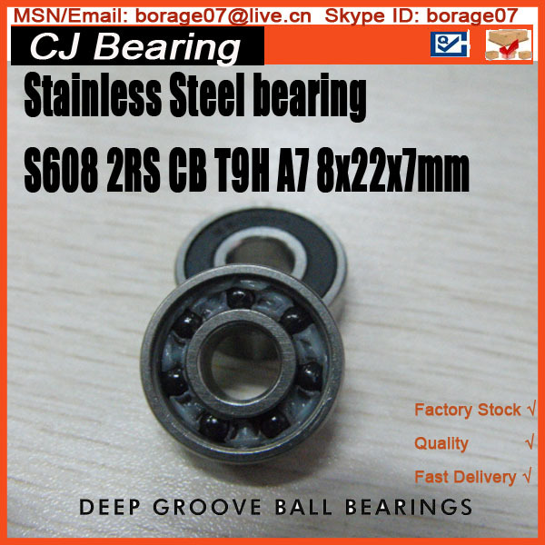 Stainless steel hybrid ceramic skate shoes bearing 608 ceramic 608 2rs 22*8*7mm 8/22/7mm 2pcs/lot S608 2RS CB T9H A7 stainless steel hybrid ceramic ball bearing smr84 2rs cb abec7 4x8x3mm