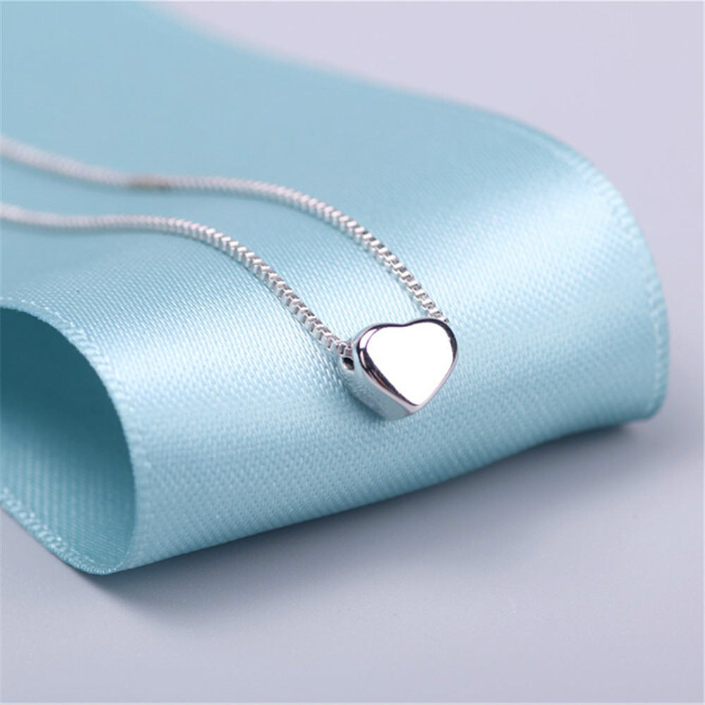 AAA 100% Silver 925 Necklace Shiny Heart Necklace Sterling Silver Necklaces & Pendants FREE SHIPPING