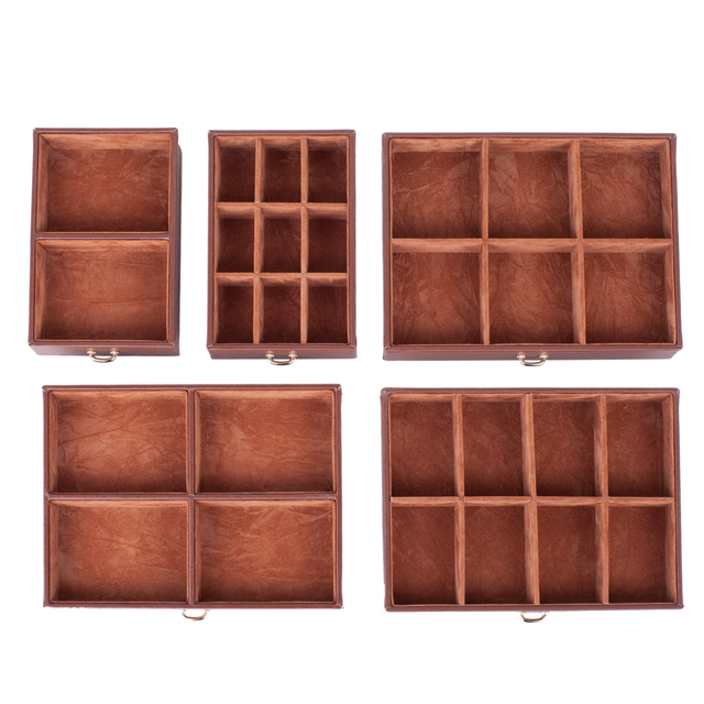 Large Brown Jewelry Boxes Girls Necklace Rings Storage Organizer Earrings Mirror Container Women Display Travel Case