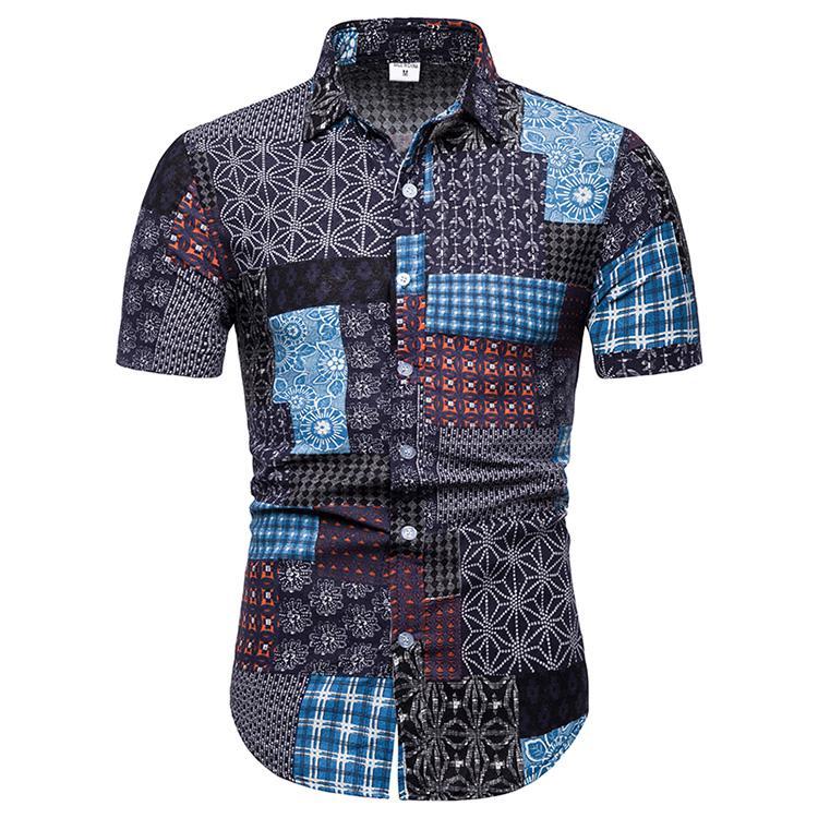 Flower New Model Shirts Camisa Social Masculina Fashion Blouse Men Floral Men's Shirt Male Short Sleeve Summer