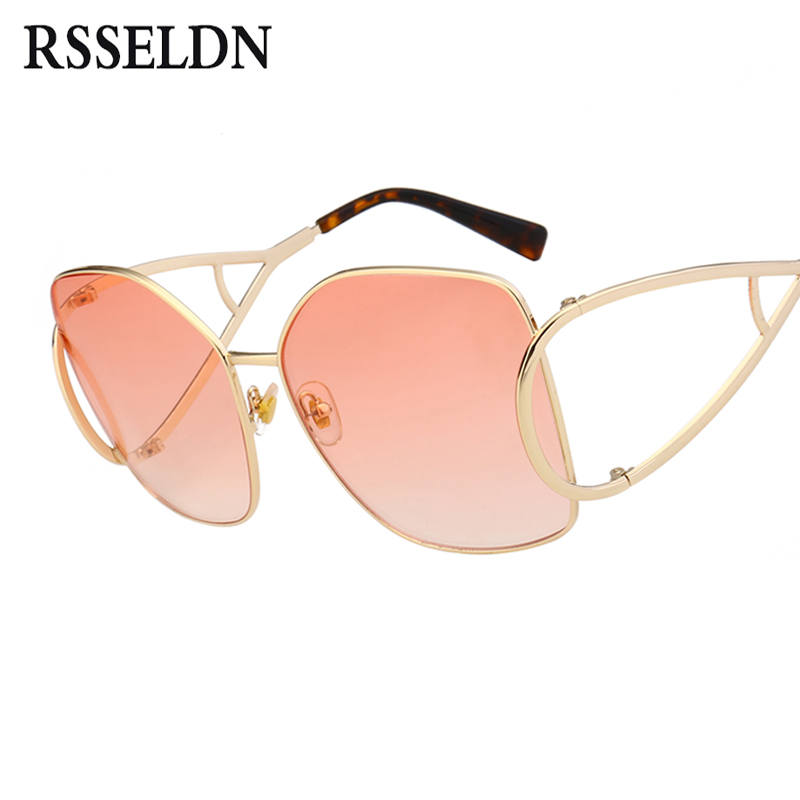 RSSELDN Oversized Square Sunglasses Women Fashion Black Pink Red Gradient Lens Sun Glasses For Women Hollow Out UV400 Shades