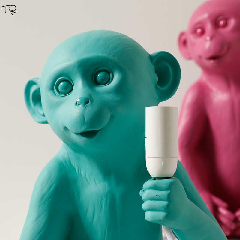 Скандинавские обезьяны Дети Led простой настольная лампа Искусство украшение дома Обеденный Бар Кафе исследование творческая личность животное Рождественский подарок