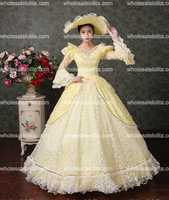 Renaissance Colonial Floral Brocade Lace Dress Gown Theatrical Costumes