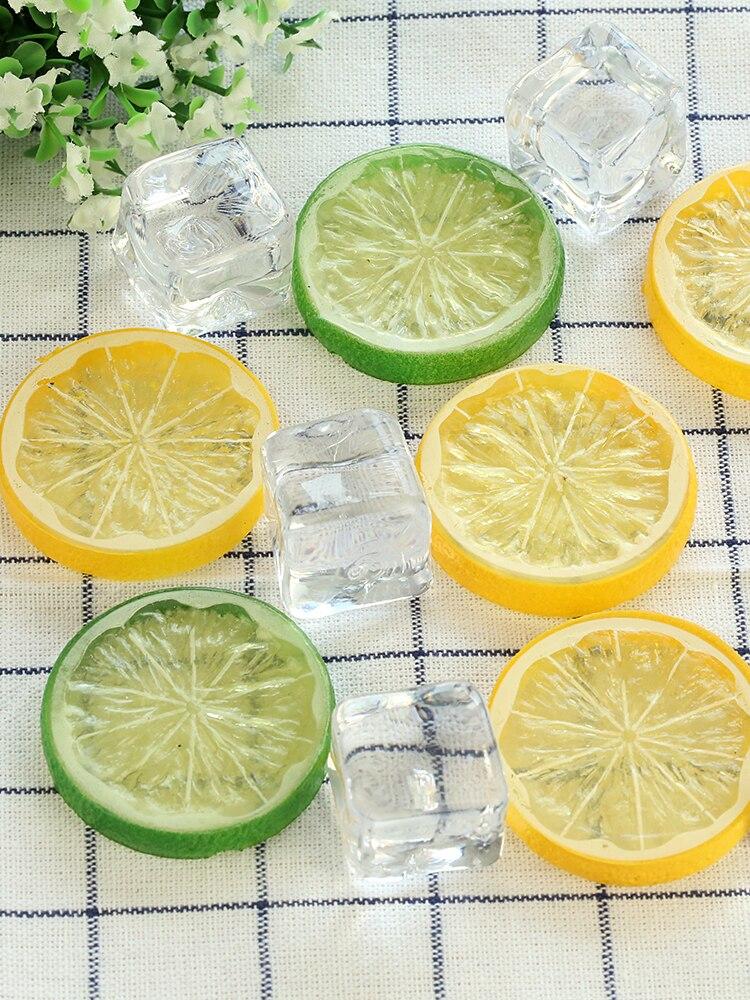 Mini Photography Props Simulation Lemon Slices & Artificial Ice Cubes For Studio Photo Desktop Shooting Decoration Accessories
