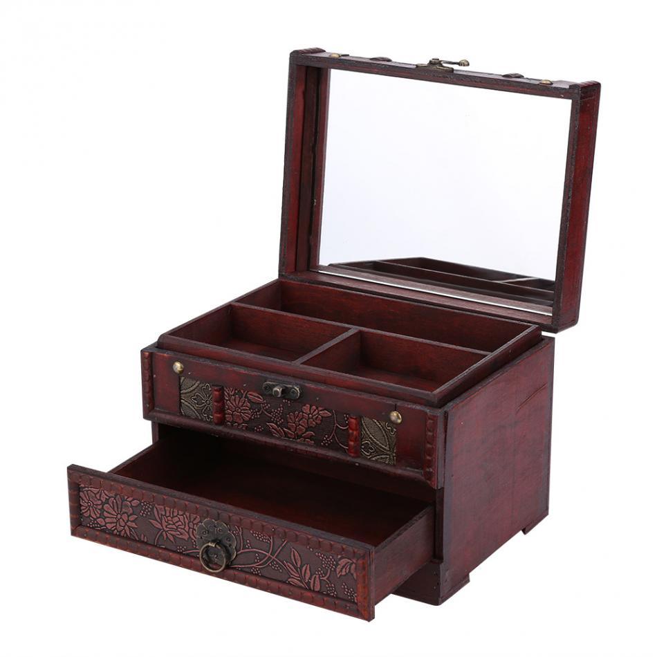 Ev ve Bahçe'ten Saklama Kutuları ve Kovaları'de 1 adet Klasik Ahşap Takı Hediye saklama kutusu Kutusu Tutucu Göğüs Organizatör Ayna Ile'da  Grup 1
