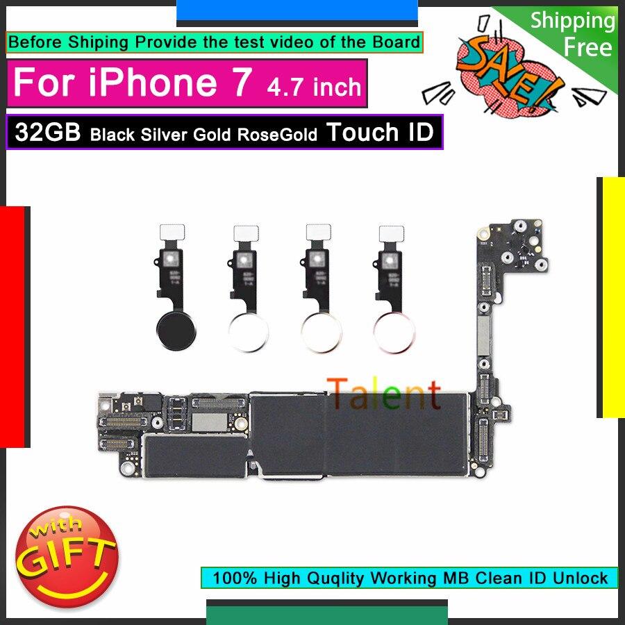 Для IPhone 7 материнская плата 32 Гб черный серебристый золотой RoseGold Touch ID разблокированная разборная материнская плата Хорошая рабочая логическая плата протестирована