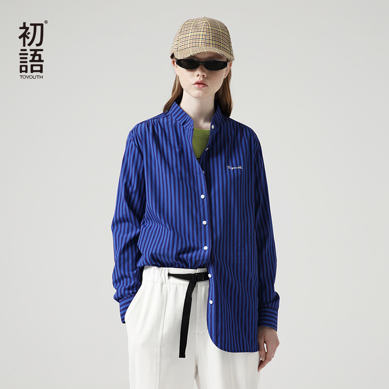 Toyouth Boyfriend Style Striped Stand Collar Single-breasted Button Letter Embroidery Women's Blouse Blusas Mujer De Moda