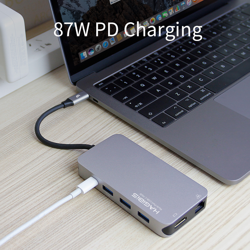 Hagibis 9-en-1 USB tipo C-c HUB 3,0 USB-C a 4 K HDMI/SD/ adaptador Gigabit Ethernet de carga PD lector de tarjetas TF para MacBook Pro HUB - 4