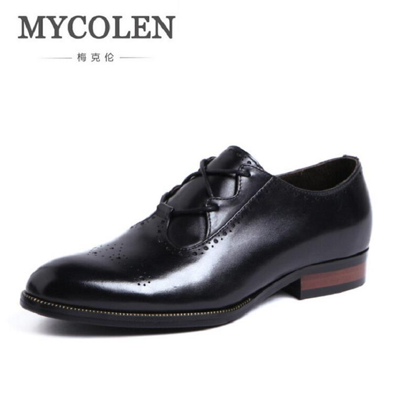 MYCOLEN Genuine Leather Men Loafers Fashion Carved Hollow Men Dress Leather Shoes High Quality Men Flats Shoes for Wedding