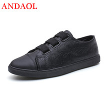 ANDAOL Mens Leather Casual Shoes Newest Non-Slip Light Student Trainers Luxury Brand Black Campus Sneakers Outdoor