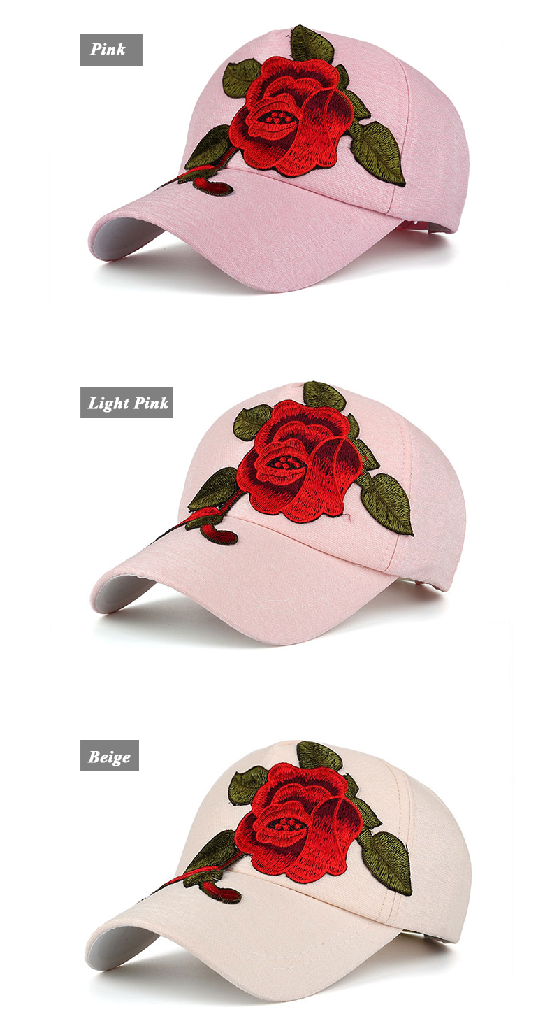 Large Flower Embroidered Snapback Cap - Pink Cap, Light Pink Cap and Beige Cap Front Angle Views