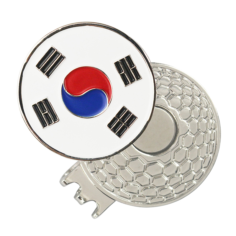 PINMEI Golf Ball Marks with Magnetic Golf Hat Clips Country Flag Golf Makrers(USA eagle Korea Japan UK flag markers) Size 1 inch|Golf Training Aids| |  - title=