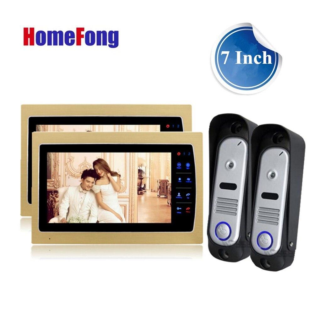 Homefong видео-телефон двери Системы Дверные звонки с Камера домофон 2 Дверные звонки 2 Мониторы Золотой Цвет день/Ночное видение