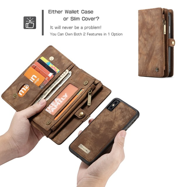 For iPhone X iPhone 5S CaseMe Luxury Leather Wallet Card Stand Phone Case For iPhone 7 8 6 6S Magnet Flip Vintage Holder Cover