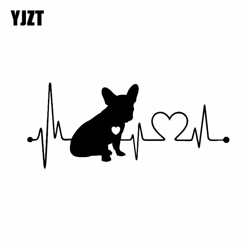 YJZT 18CM*7.7CM French Bulldog Waterproof Vinyl Decoration Car Bumper Window Car Sticker Black/Silver C2-3310 car styling for english french bulldog pet dog paws love hearts car window laptop decal sticker