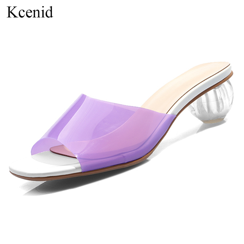 Kcenid Fashion new women sandals PVC crystal heel transparent women sexy clear high heels pumps summer