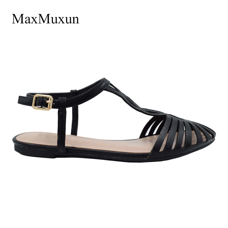 d0a1bd2b06acfd MaxMuxun Gladiator Sandals Women Summer Flats Cute Ladies White Flat Sandals  2018 Ankle Strappy Sandals For Women Dress Shoes-in Women s Sandals from  Shoes ...