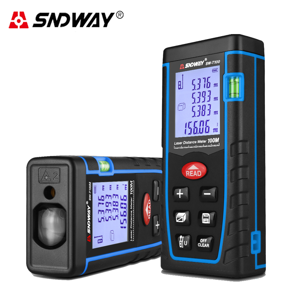 SNDWAY 100M Distance Laser Meter rangefinder trena Roulette with Double Level Bubble Building measure tape tester
