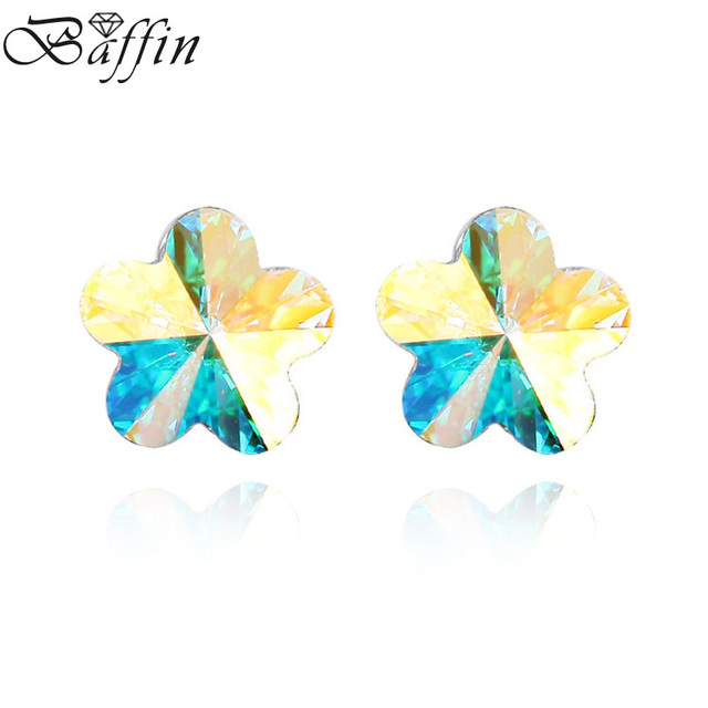 c161f49916b Cute Crystal Sakura Flower Piercing Earrings Stud Made With Swarovski  Elements Boucle d'oreille Women Girls Gifts 10MM