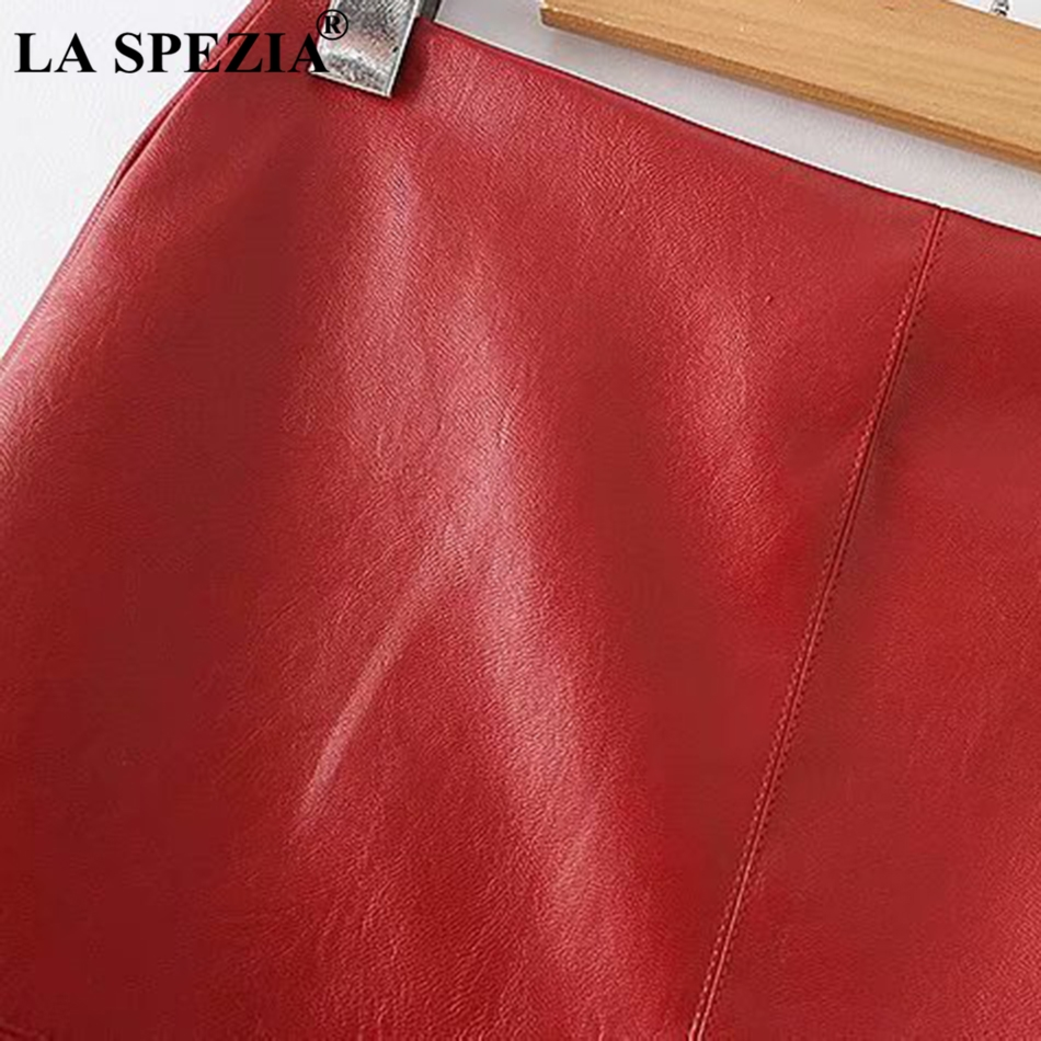LA SPEZIA Red Skirts For Women Plain Leather Skirt Ladies Party Sexy Mini Solid Motorcycle Female Fashion Autumn A Line Skirts in Skirts from Women 39 s Clothing