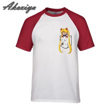 99f5bc763 Cartoon Pocket Sailor Moon joker t shirt customized pure cotton short  sleeve casual cool anime tshirt homme summer 2019 newest