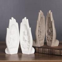 2Pcs/set Small Buddha Statue Monk Figurine Tathagata India Yoga Mandala Hands Sculptures Home Decoration Accessories Ornaments