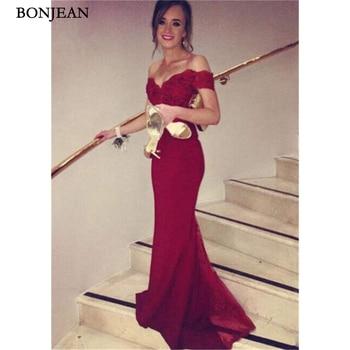 New Red Evening Dress Mermaid Appliques Off Shoulder Prom Dress Floor Length New  Evening Gowns Custom Made Vestido de noche