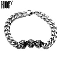 HIP Classic Skeleton Skull Men S Chain Bracelet Bangle Silver Plated Stainless Titanium Steel Metal
