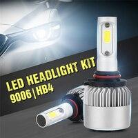 LIPLASTING 2PCS Auto Headlamp LED COB DC 9 32V Car Headlight Auto Bulb Headlamp Kit 6500k