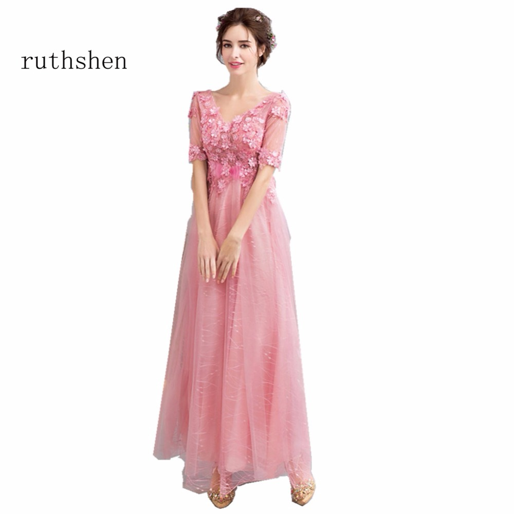 ruthshen Empire Real Photo   Evening     Dresses   Sexy V Neck Party   Dresses   Flowers Appliques Vestido De Festa Prom   Dresses   Long