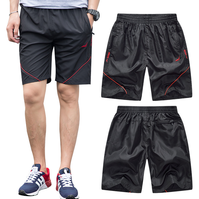 FALIZA Summer Mens Quick Dry Shorts 2018 Casual Men Beach Shorts Elastic Waist Breathable Male Shorts with Zipper Pocket DK101