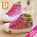 New 2015 Spring Fashion Girls Shoes Canvas Children Shoe Breathable Casual Print Girls Sneakers High Rubber Sneaker Good Quality