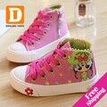 Nuevo 2015 de La Moda de Primavera Niñas Zapatos de Lona de Los Niños Muchachas de la Impresión de Zapatos Ocasionales Respirables Zapatillas de deporte de Alta Zapatilla de deporte de Goma de Buena Calidad