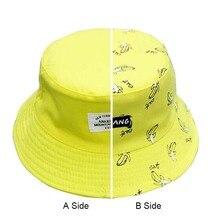 Nuevo otoño AB Unisex amantes de mujeres Panamá sombreros Banana patrón  algodón de verano sombreros del cubo hembra hombres tris. 9dd49ab726f