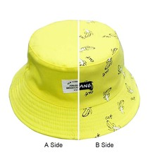 New Unisex Fashion Cap Lovers Womens Panama Hats Banana Pattern Summer Cotton Bucket Female Men Sad Boy Beach Caps Black