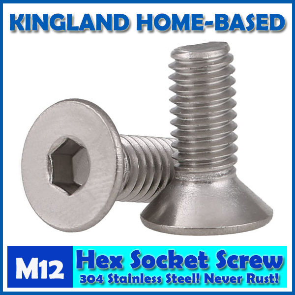 M12 DIN7991 Hexagon Hex Socket Countersunk Flat Head Cap Screws 304 Stainless Steel DIY Home Maintain Matel Working m4 din7991 hexagon hex socket countersunk flat head cap screws 304 stainless steel diy home maintain matel working