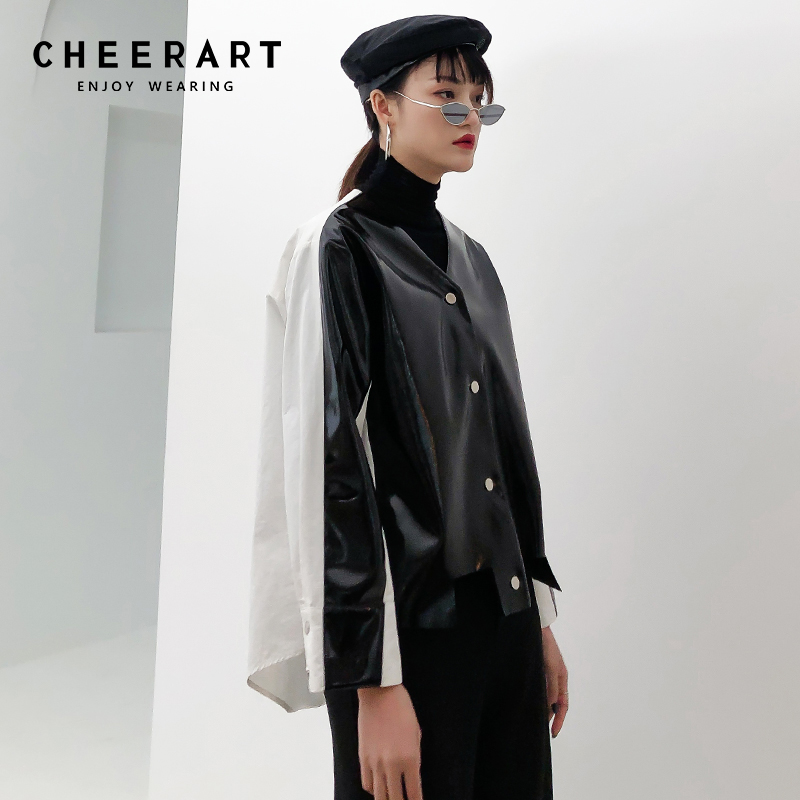 Cheerart Patchwork   Leather   Jacket Women Shiny Faux   Leather   Coat Irregular Black Jacket Buttons Asymmetrical High Fashion Trench