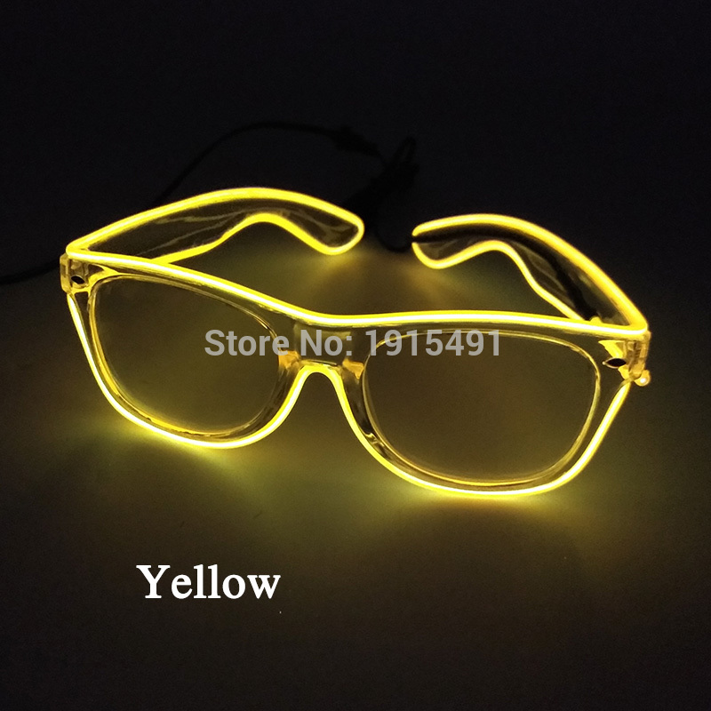 Brand Newest Neon Led Bulbs Luminous Glowing Glasses Carnival Decor EL Tube Cold Light Sparkling Eyewear for Rave Costume Party stylish led cold light evening party glasses yellow 2 x aa