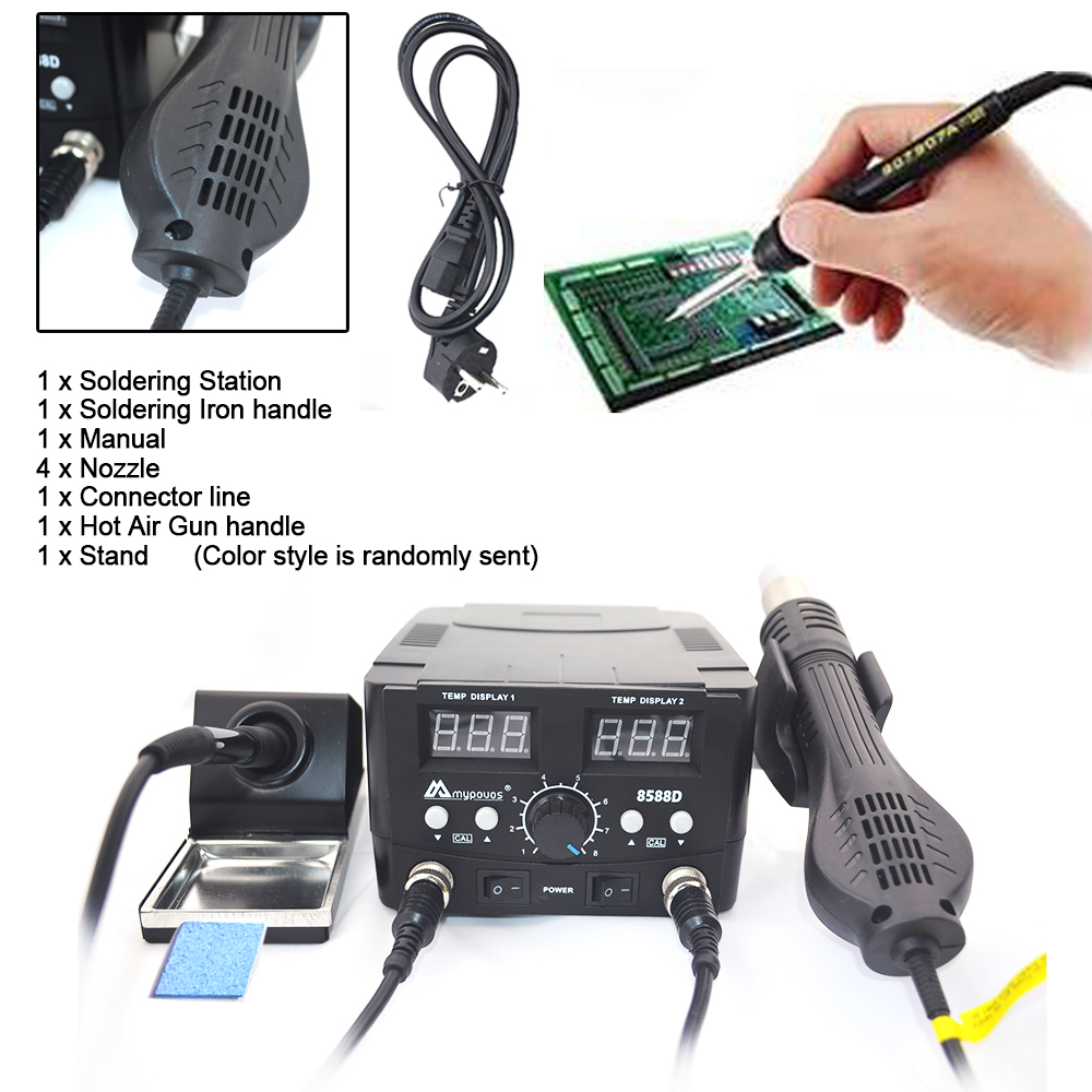 Tools : MYPOVOS 8588D Double Digital Display Electric Soldering Irons  Hot Air Gun Better SMD Rework Station Upgrade from 8586 8586D  87
