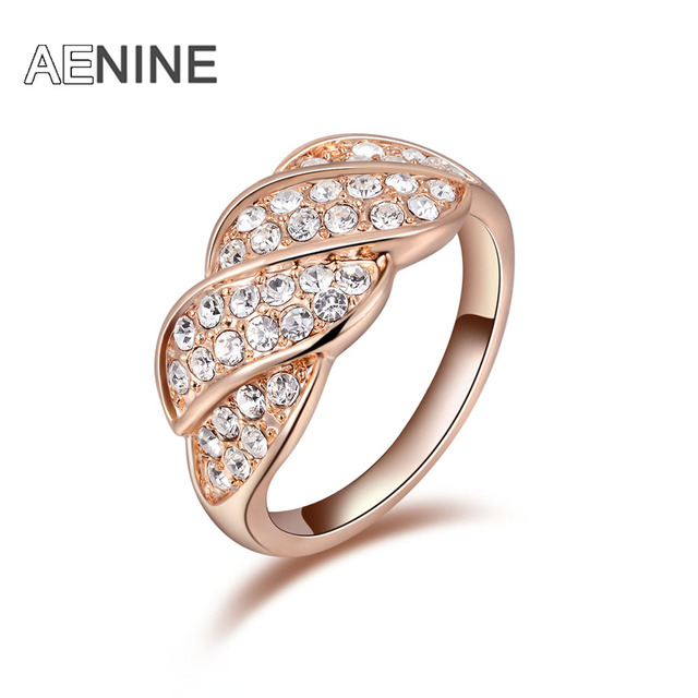 AENINE Exquisite rose gold screw colorful rings plated with AAA zircon fashion jewelry for women best Christmas gift L2010238320