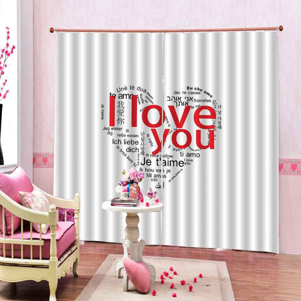Luxury Blackout 3D Window Curtains For Living Room heart love curtains for girl room wedding curtains