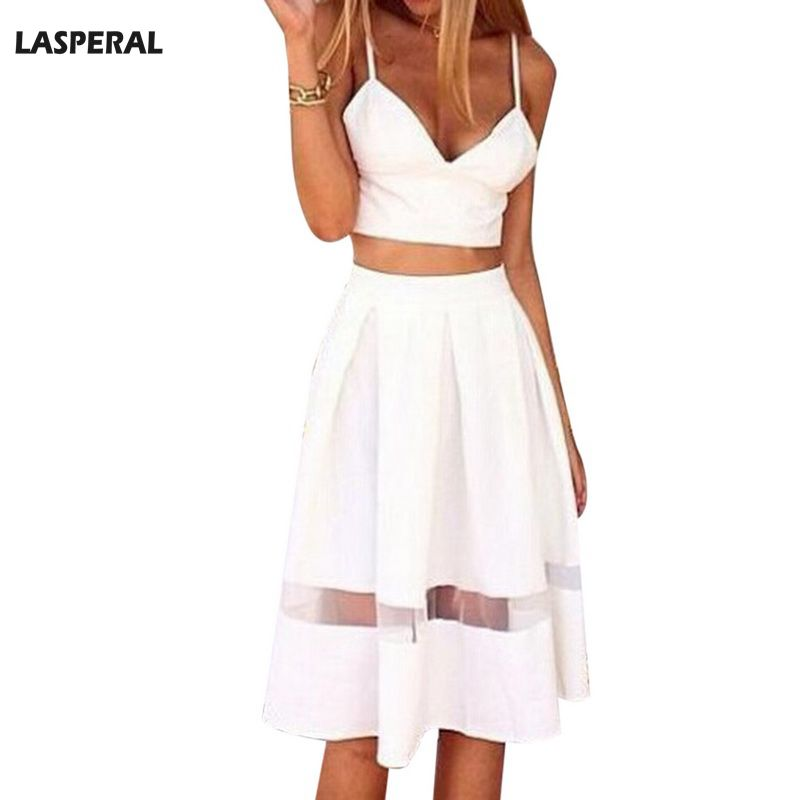LASPERAL Two Pieces Set Women Sexy Sling Deep V-neck Short Top and Skirt Lace Patchwork  ...