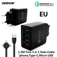 XEDAIN EU/US Phone Fast USB Charger High Quality Plug 4 Ports USB Quick Charger QC 3.0 For Apple Samsung Huawei Xiaomi Sony VIVO(China)