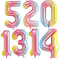 Воздушные шары с радужными цифрами от 0 до 9 лет, вечерние украшения для первого дня рождения, 16/32
